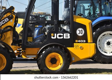 Kaunas, Lithuania - April 04: JCB heavy duty equipment vehicle and logo in Kaunas on April 04, 2019.  JCB corporation is manufacturing equipment for construction and agriculture