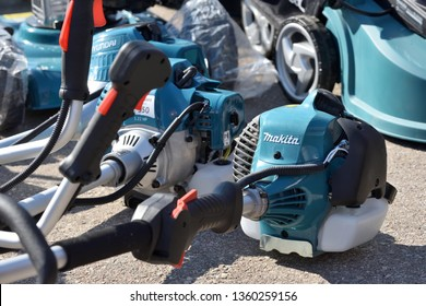 Kaunas, Lithuania - April 04: Makita String Trimmers and logo in Kaunas on April 04, 2019. Makita Corporation founded on March 21, 1915 it is based in Japan
