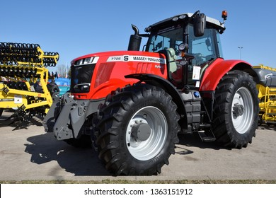 Kaunas, Lithuania - April 04: Massey Ferguson tractor and logo in Kaunas on April 04, 2019. Massey Ferguson Limited is an American-owned major manufacturer of the agricultural equipment