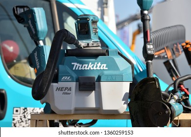 Kaunas, Lithuania - April 04: Professional electric Makita tools and logo in Kaunas on April 04, 2019. Makita Corporation founded on March 21, 1915 it is based in Japan