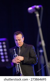 "KAUNAS, LITHUANIA - APRIL 24, 2015: American jazz musician Gary Guthman performs at the stage of ""Kaunas Jazz"" festival as a member of Wlodek Pawlik Project."