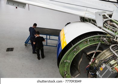Kaunas, Lithuania. April 25, 2017. Boeing 737-800 being maintained in Ryanair repair base
