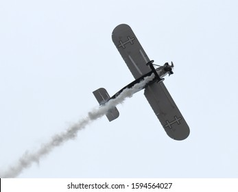 KAUNAS / LITHUANIA - August 10, 2019: Lithuanian ANBO II replica vintage aircraft (originally designed by Antanas Gustaitis in 1927) flying display at air show in Aleksotas airfield, Kaunas, Lithuania