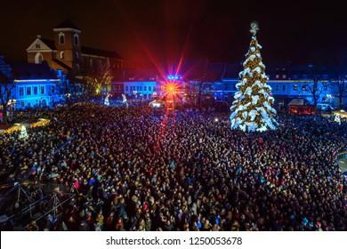 KAUNAS, LITHUANIA - DECEMBER 01, 2018: The main Christmas tree of Kaunas in the City Hall square at night