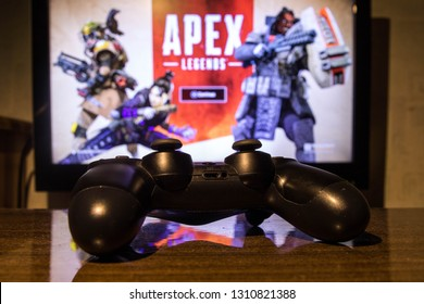KAUNAS, LITHUANIA - FEBRUARY 10, 2019: Apex Legends free to play Battle Royale shooting game released by EA games