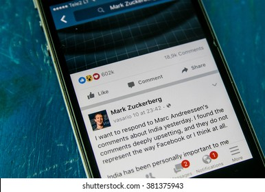 KAUNAS, LITHUANIA - FEBRUARY 24, 2016: Facebook Reactions, an extension of Like button. Facebook on smartphone. Selective focus