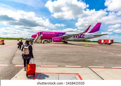 Kaunas, Lithuania – june 1, 2019: Airbus A320 Wizz Air boarding at Kaunas  airport.