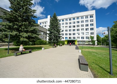 KAUNAS, LITHUANIA - JUNE 30, 2016: Clinic in Dainava neighborhood. Summer scene.