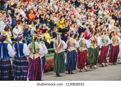 KAUNAS, LITHUANIA - JUNE 30, 2018: Centennial Song Festival. Thousands of singers and dancers in the Valley of Song