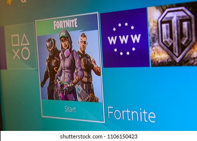 KAUNAS, LITHUANIA - JUNE 5, 2017:   Fortnite game on screen. Fortnite is the most popular Battle royale game in the world.