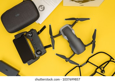 KAUNAS, LITHUANIA - MARCH 03, 2018: Unboxing newest DJI Mavic Air drone