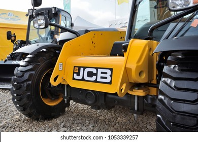 Kaunas, Lithuania - March 23: JCB heavy duty equipment vehicle and logo on March 23, 2018 in Kaunas, Lithuania. JCB corporation is manufacturing equipment for construction and agriculture.