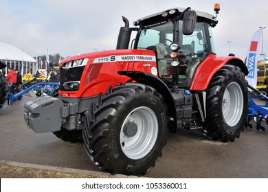Kaunas, Lithuania - March 23: Massey Ferguson tractors on March 23, 2018 in Kaunas, Lithuania. Massey Ferguson Limited is an American-owned major manufacturer of the agricultural equipment.