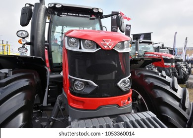 Kaunas, Lithuania - March 23: Massey Ferguson tractor and logo on March 23, 2018 in Kaunas, Lithuania. Massey Ferguson Limited is an American-owned major manufacturer of the agricultural equipment.
