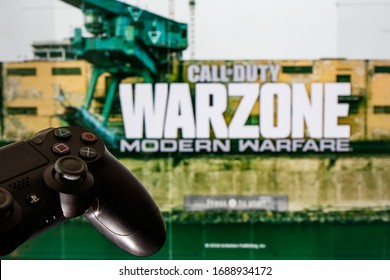 KAUNAS, LITHUANIA - MARCH 31, 2020: Call of Duty Warzone video game. Playing video game on Playstation 4.