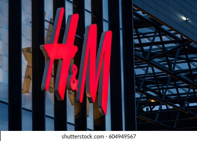 KAUNAS, LITHUANIA - MARCH 5, 2017: H&M store in Kaunas. H & M Hennes & Mauritz AB is a Swedish multinational retail-clothing company, known for its fast-fashion clothing