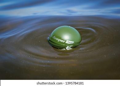 Kaunas, Lithuania - May 12, 2019 : Deeper chirp plus - smart fishing sonar