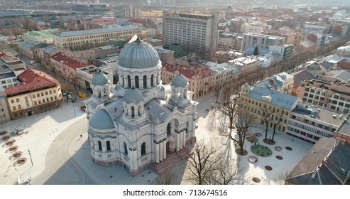 KAUNAS, LITHUANIA - MAY 19, 2017:  AERIAL. Drone shot of St. Michael the Archangel Church (Soboras) in Kaunas, Liberty Boulevard, Lithuania. Sunny spring day
