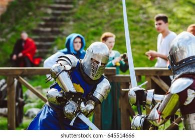 KAUNAS, LITHUANIA - MAY 20, 2017: Festival Kaunas Hanseatic days 2017. Knights fighting in an international tournament.
