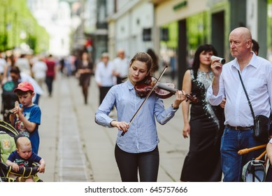 KAUNAS, LITHUANIA - MAY 20, 2017: The Street Musician's Day in Lithuania. On the third Saturday of May, thousands of people go out to the streets and play music.