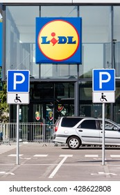 Kaunas, Lithuania - May 30, 2016: New Lidl store in Kaunas. For over 40 years, Lidl has been a growing presence in the European grocery marketplace. Through 10,000 stores in 26 countries