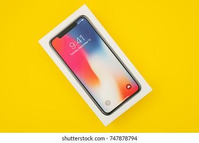 KAUNAS, LITHUANIA - NOVEMBER 03, 2017: New Apple Iphone X flagship smartphone. Latest Apple Iphone 10 mobile phone model start shipping on 3 November 2017