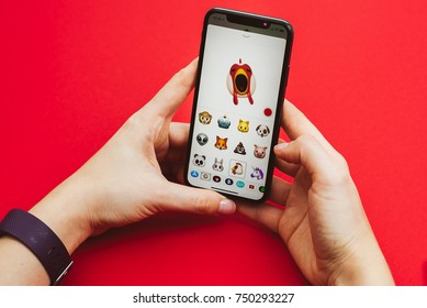 KAUNAS, LITHUANIA - NOVEMBER 05, 2017: Holding in hands new Apple Iphone X flagship smartphone. Latest Apple Iphone 10 mobile phone model start shipping on 3 November 2017