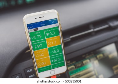 KAUNAS, LITHUANIA - OCTOBER 21, 2016: DASH smart driving app. This tool can track your trips, watch your gas consumption, find nearby gas prices, detect crashes and alert emergency services