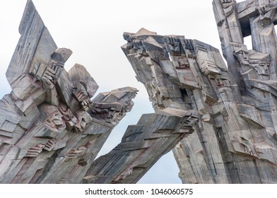 Kaunas, Lithuania - October 22, 2013: Concrete sculpture elements of the Ninth Fort Monument dedicated to Holocaust victims.
