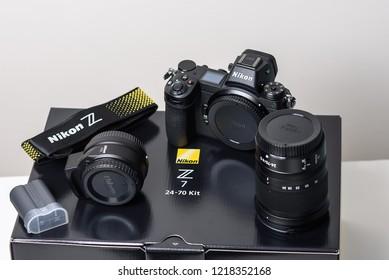 KAUNAS, LITHUANIA - OCTOBER 30, 2018: Nikon Z7 Mirrorless Kit. New mirrorless camera body, NIKKOR Z 24-70mm f/4.0 S Lens end NIKKOR FTZ Mount Adapter