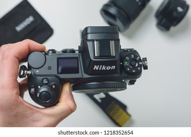 KAUNAS, LITHUANIA - OCTOBER 30, 2018: Holing in hand new Nikon Z7 camera. Its a 45.7MP full-frame mirrorless camera that features a new lens mount and matched lenses