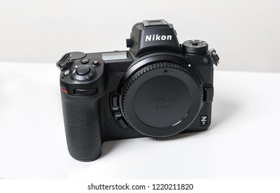 KAUNAS, LITHUANIA - OCTOBER 30, 2018: New Nikon Z7 camera. Its a 45.7MP full-frame mirrorless camera that features a new lens mount and matched lenses, and integration with Nikon DSLR system