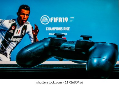 KAUNAS, LITHUANIA - SEPTEMBER 05 2017 - FIFA 19 is a football simulation video game developed by EA