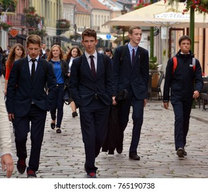 KAUNAS LITHUANIA SEPTEMBER 19 2015: Students in Kaunas is the second-largest city in Lithuania and has historically been a leading centre of Lithuanian economic, academic, and cultural life.