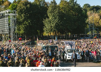 KAUNAS, LITHUANIA - SEPTEMBER 23, 2018: Pope Francis celebrates Holy Mass at Santakos Park in Kaunas, on the second day of his visit to Lithuania