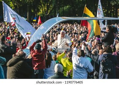 KAUNAS, LITHUANIA - SEPTEMBER 23, 2018: Pope Francis arrive to Santakos Park in Kaunas, Lithuania. The Pope celebrate Holy Mass and afterward pray the Angelus