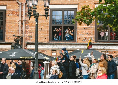 KAUNAS, LITHUANIA - SEPTEMBER 23: Crowd of people during pope visit in Lithuania. Pope Francis is the 266th and current Pope and sovereign of the Vatican City State