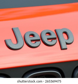 KAUNAS - MAR 26: Close-up of Jeep logo on Mar. 26, 2015 in Kaunas, Lithuania. Jeep is a brand of American automobiles that is a division of FCA US LLC, owned subsidiary of Fiat Chrysler Automobiles.