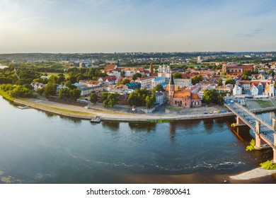 Kaunas old town, drone aerial view. Summer evening.