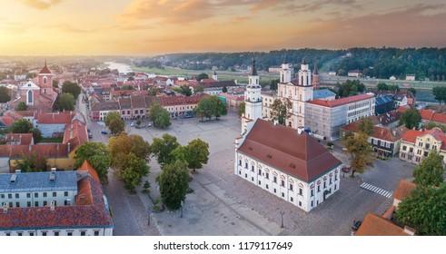 Kaunas old town, Lithuania. Drone aerial view. Kaunas City Hall, Nemunas river.
