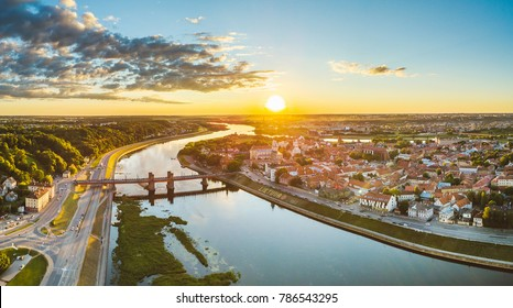 Kaunas old town, Lithuania. Drone aerial view. Summer sunset.