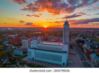 Kaunas our Lord Jesus Christ's Resurrection Basilica. With a sunset in horizon. It is the largest basilical church in the Baltic States. Aerial drone photo