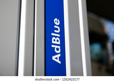 Kaunas/Lithuania March 28, 2019  The AdBlue tank at the Neste gas station. AdBlue is a diesel exhaust cleaning fluid for trucks and buses.