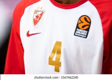 Kaunas/Lithuania November 21 2019  Crvena Zvezda logo during Turkish Airlines EuroLeague game Zalgiris Kaunas vs Crvena Zvezda at Zalgiris sports arena