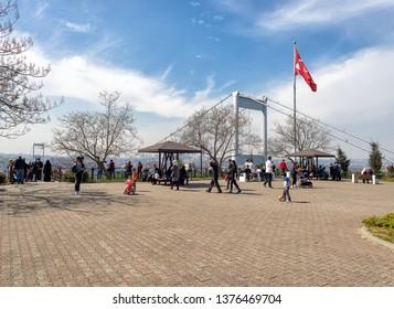 Kavacik , BEYKOZ  - April 07, 2019 : Otagtepe Park (Fatih Korusu - TEMA) The Bosphorus and Fatih Sultan Mehmet Bridge view is one of the most beautiful hills of Istanbul.