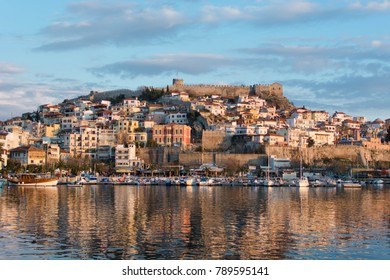 Kavala city view at sunset