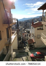 Kavala, Greece - December 31,2017: Greek architecture and streets during the day