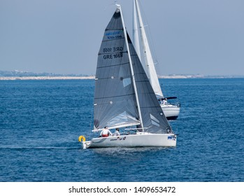 KAVALA, Greece - May 18 2019: Saling yachts during regatta race in Mediterranean sea.