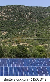 KAVALA,GREECE - AUG,20: Photovoltaic panels solar field on August 20, 2012 in Kavala, Greece.