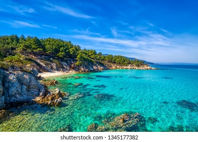 Kavourotrypes or Orange is a small paradise of small beaches located between Armenistis and Platanitsi in Sithonia, Chalkidiki, Greece